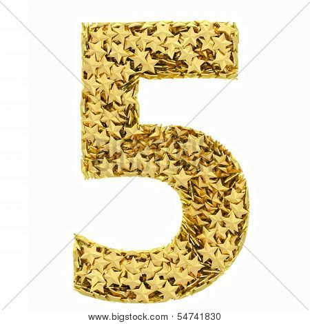 Number 5 Composed Of Golden Stars Isolated On White