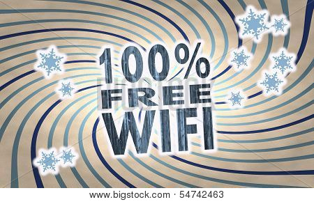 Vintage Wooden 100 Percent Free Wifi Symbol