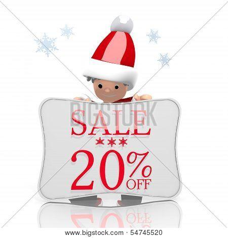 Mini Santa Claus Presents Christmas Sale 20 Percent Off Symbol