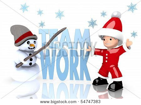 Teamwork Symbol Presented By Snowman And Santa Claus