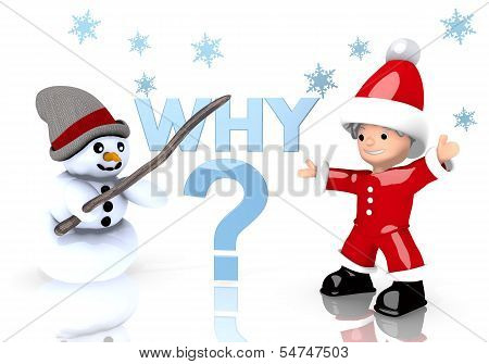 Why Sign Presented By Snowman And Santa Claus