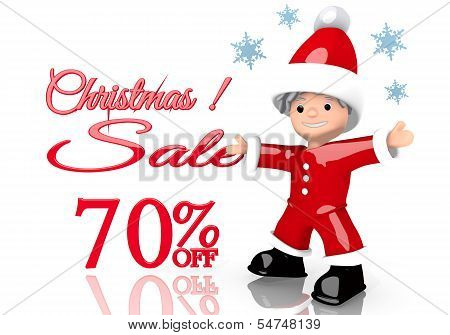 Christmas Discount 70 Percent Off Sign Presented By Mini Santa Claus