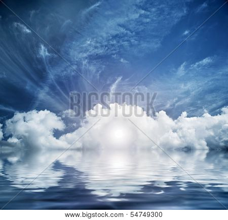 Divine sky, heaven. Conceptual entrance to new life. Hope, faith, religion. poster