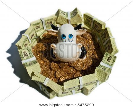 Cow In A Pool Of Banknotes And Coins