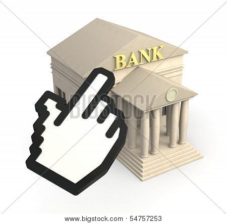 one bank building and a cursor icon concept of online banking (3d render) poster