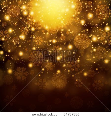 Snowflakes on abstract gold background