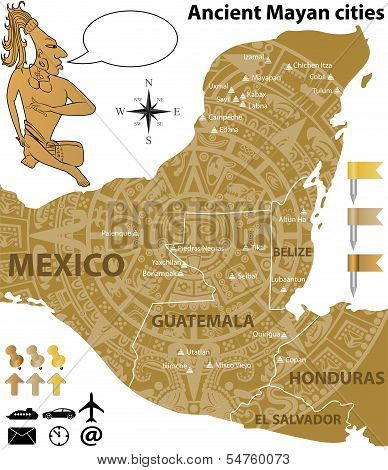 Map Of The Mayan Cities With Ancient Calendar