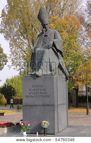Monument To Stefan Wyszynski In Warsaw, Poland
