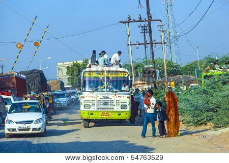 People Travel By Overland Bus At The Jodhpur Highway