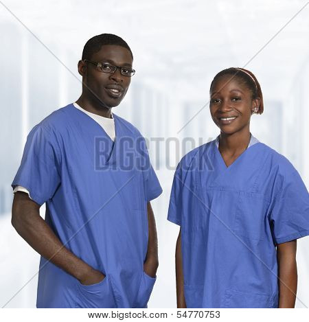 African Doctors In Blue Dress Portrait