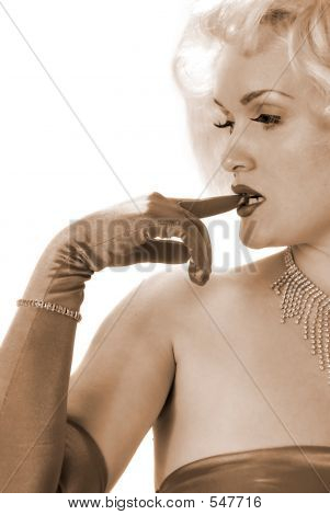Sexy Impersonator Biting On Gloved Finger
