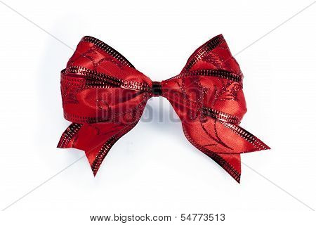 red decorative bow with clipping path