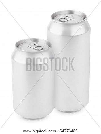 Two Aluminum Can Isolated On White