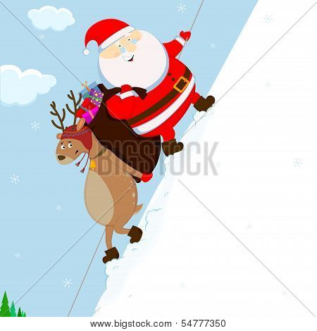Santa And Reindeer Climb The Mountain