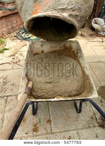Cement Mixer And Wheelbarrow