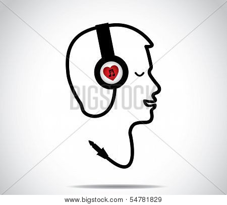 Headphones With Love Music Symbol And Its Chord Shaped In The Form Of A Young Man Listening happily