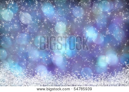 Beautiful Blue Purple Aqua Background Snow Stars