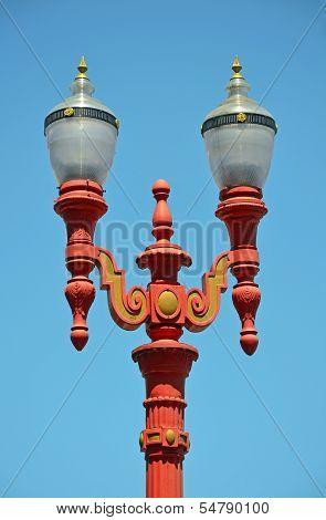 Red Ornamental Lightpost
