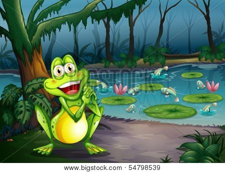 Illustration of a playful frog at the forest standing near the pond