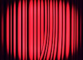 Red curtains on theater or cinema stage as background poster