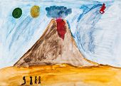 children drawing - people near active volcano in extraterrestrial world poster