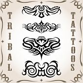 Vector set of tribal tattoo on background poster