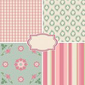 Shabby Chic Rose Patterns and seamless backgrounds. Ideal for printing onto fabric and paper or scrap booking. poster