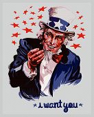 Cartoon illustration of a smiling Uncle Sam. poster