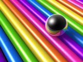 colorful rainbow style iron ball reflection background poster
