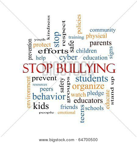 Stop Bullying Word Cloud Concept with great terms such as students cyber safety and more. poster