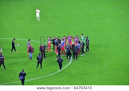 End Of The Soccer Macth. Steaua Bucharest Won Against Dinamo
