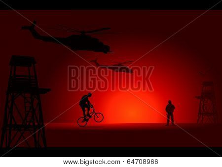 Soldier and biker with watchtower, helicopters and birds background