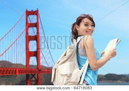 Happy Woman Travel In San Francisco
