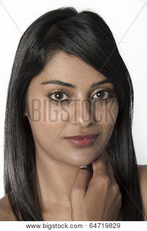 Closeup of a Natural Beautiful Indian Woman