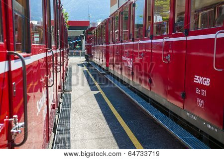Red Tourist Railway Wagons On St. Wolfgang Station