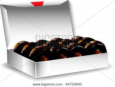 Box chocolate donuts