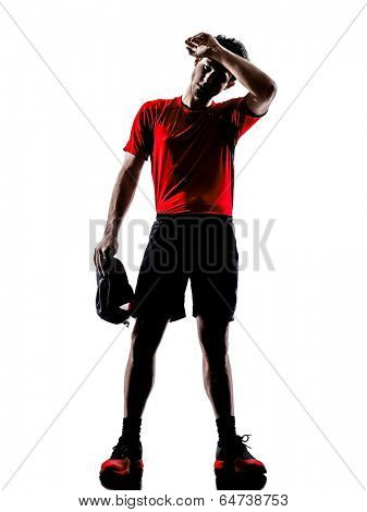 one young man runners joggers tired exhaustion breathless heat in silhouettes isolated on white background