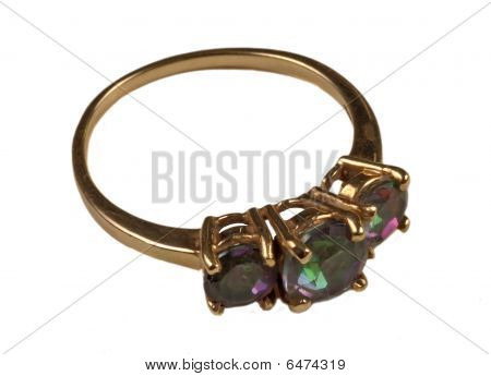 Womens gold ring with gems