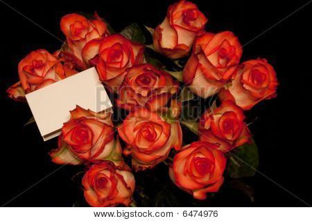 Red Tipped Roses And Card