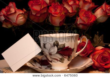 Teacup With Card And Roses
