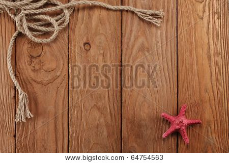 Rope Shells Starfish On Wooden Boards