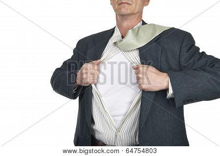 Businessman Showing Blank Superhero Suit Underneath His Shirt Standing