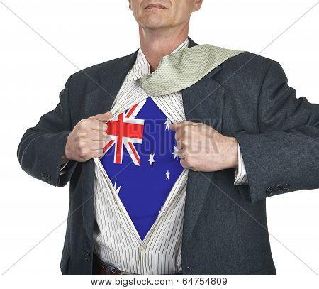 Businessman Showing Australia Flag Superhero Suit Underneath His Shirt