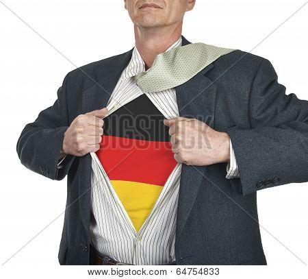 Businessman Showing Germany Flag Superhero Suit Underneath His Shirt