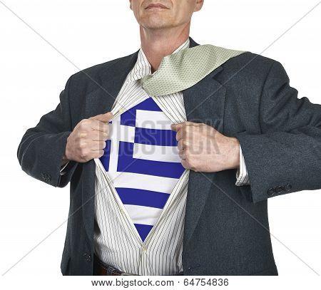 Businessman Showing Greece Flag Superhero Suit Underneath His Shi