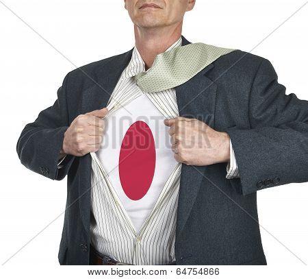 Businessman Showing Japan Flag Superhero Suit Underneath His Shi