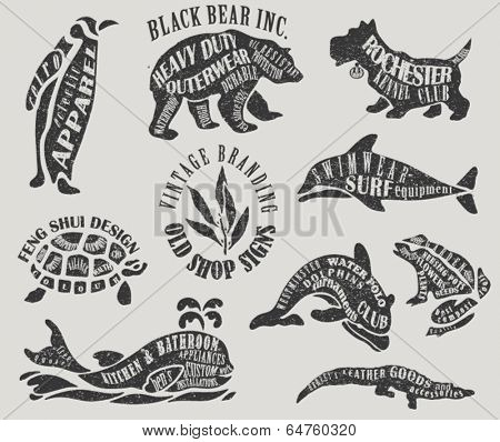 Vintage Marketing Labels and Shop Signs - Textured animal-shaped advertisement signs for outerwear, water polo club, apparel, gardening, etc.