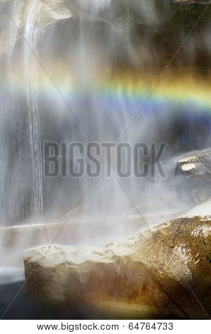 Waterfall known as Vernal Fall falling on a smooth wall of granite in Yosemite National Park, California, USA