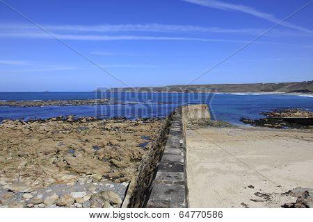Breakwater and life Boat Ramp Cornwall