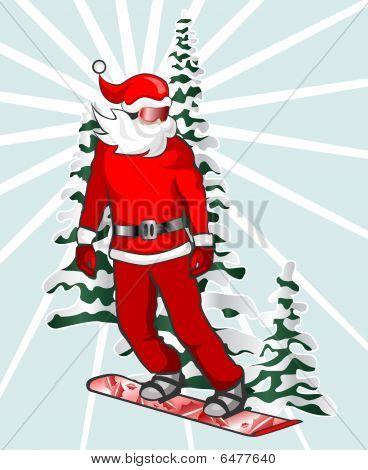 Santa Snowboarding